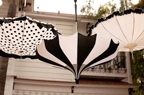 wedding umbrellas in black and white
