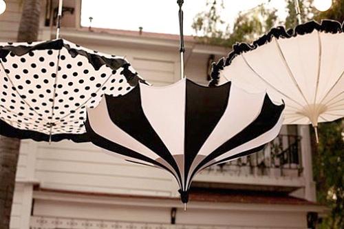 wedding umbrellas in black and white